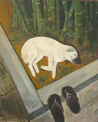 Randy Cousins; Dream, 2002, Original Painting Acrylic, 30 x 36 inches. Artwork description: 241 A stray dog sleeps outside a temple in Thailand.  Dreaming is to wakefulness as living is to death....