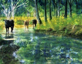 Randy Sprout; Streaming Cows, 2018, Original Painting Oil, 9 x 11 inches. Artwork description: 241 Cows crossing the creek...