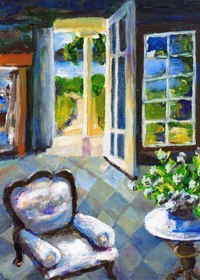 Randy Sprout; White Chair Nantucket, 2008, Original Painting Acrylic, 9 x 12 inches. Artwork description: 241  I was trying to paint the differing light from interior as the exterior light streamed into our cottage. ...