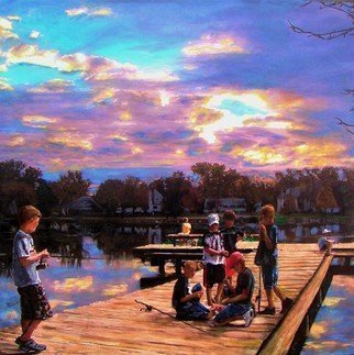 Randy Sprout; Boys On The Dock, 2018, Original Painting Oil, 30.3 x 30 inches. Artwork description: 241 30X30 Acrylic on canvas: This is the city dock in Emmetsburg Iowa where an entire community learned to swim, fish, and play ice hockey in the winter. Late afternoon of an Indian summer these boys were deep into technical discussion of what would work to catch the ...