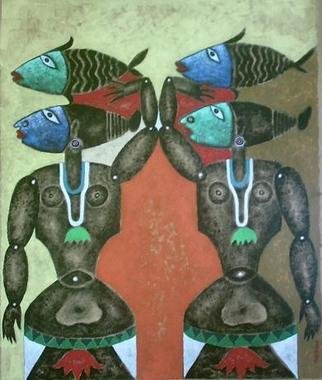 Ranjith Raghupathy; FISHER WOMEN, 2009, Original Painting Acrylic, 60 x 73 cm. Artwork description: 241      FUSION OF TANTRIC ART WITH MODERN SYMMETRICAL ABSTRACTS     ...