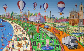 Rafi Perez; Naive Painting Of Nice Fr..., 2016, Original Painting Acrylic, 250 x 150 cm. Artwork description: 241  naive painting of Nice France city after terror attack  naife artworks paintings       ...