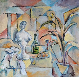 Anatoly Raspopov; Still life with a bust, 1993, Original Painting Oil, 45 x 45 cm. Artwork description: 241  a still life with a bust ...