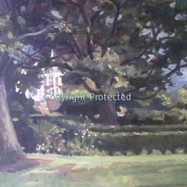 Ron Anderson, , , Original Painting Oil, size_width{Palm_House_through_the_Trees-1440710564.jpg} X 16 inches
