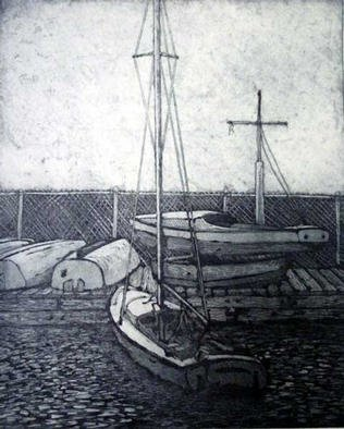 Robin Richard Emrich; Charles River Boat Club, 2001, Original Printmaking Etching, 18 x 22 inches. Artwork description: 241 Boats laid up for their winter rest at the Community Boating Center at Charles River in Boston.  Etching with aquatint....