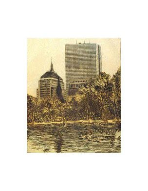 Robin Richard Emrich; Hancock Towers, 1999, Original Printmaking Etching, 18 x 22 inches. Artwork description: 241 Boston' s John Hancock Towers.  This is the ghost of a three color print.  The original colors are subtly suggested and much less intense then the original proof.  The Boston Public Gardens and a Swan Boat is in the foreground. This is a unique example from a ...
