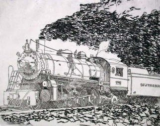 Robin Richard Emrich; Southern Pacific No 4501, 1997, Original Printmaking Etching, 22 x 18 inches. Artwork description: 241 Etching of the Steam Locomotive Southern Railway Engine Number 4501.Also avaliable as an engraving ( 3x5 for $75. 00US) ....