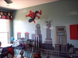Rebecca L. Baldwin; Spidy Over Louisville Ky, 2005, Original Painting Acrylic, 15 x 8 feet. Artwork description: 241 Large Mural painted on wall for Homerama Home Show 2005 in Louisville, Ky. Spiderman shooting his web over the city of Louisville ! ...