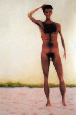Rebeca Calvogomez; Felicidad II Man, 2010, Original Pastel, 30 x 20 inches. Artwork description: 241 Happiness, sometimes ephemeral, sometimes eternal; I find you in the sun, the sky, the wind, and the sand in all the smells, touches and visual caresses.      ...