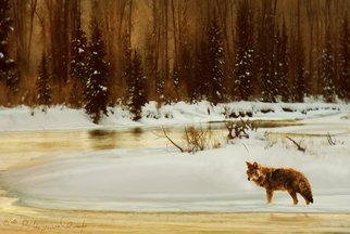 R Christopher Vest; Frosty Morning, Coyote At..., 2008, Original Computer Art, 13 x 9 inches. Artwork description: 241  fog rises from the snake river, and mist from the breath of the prowling coyote. this is a digital painting based on photos i took in jackson hole wyoming. this image will be signed and professionally printed using the giclee'process.   ...