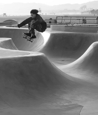 Dick Drechsler; Airborne, 2018, Original Photography Black and White, 11 x 14 inches. Artwork description: 241 Taken at the skateboard park in Venice, CA I caught this skater at the apex of his run. ...