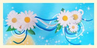 Diana Rojas; Daisies Forever, 2014, Original Painting Acrylic, 12 x 24 inches. Artwork description: 241    Original hand- painted acrylic canvas 3D picture' Daisies Forever'The flowers are hand- made as well as the flower' s stamen. The dew is on the flower leafs for adding its natural and fresh look. The ribbons symbolized union, friendship or just partnership. You ...