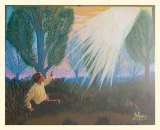 Diana Rojas; Joseph Smith, 2014, Original Painting Acrylic, 16 x 20 inches. Artwork description: 241 The First Vision ( also called the grove experience) refers to a vision that Joseph Smith said he received in the spring of 1820, in a wooded area in Manchester, New York, which his followers call the Sacred Grove. Smith described it as a personal theophany in which ...