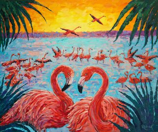 Irina Redine; Flamingo Lake, 2019, Original Painting Oil, 91.5 x 76.5 cm. Artwork description: 241 This is the original one of a kind oil painting  Flamingoes lake  by Irina Redine.It s one of the kind handmade artwork. It is painted with artist quality oil paint.Signed by the artist on the front and comes with a Certificate of Authenticity.Size  unframed : ...