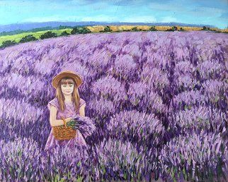 Irina Redine; Lavender Angel, 2019, Original Painting Oil, 75 x 60 cm. Artwork description: 241 This is the original oil painting  Lavender angel  by Irina Redine.LAVENDER ANGEL is an original painting of a girl picking lavender.It s one of the kind handmade artwork. It is painted with artist quality oil paint.Signed by the artist on the front and comes ...