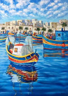 Irina Redine; Malta Fishing Boats, 2019, Original Painting Oil, 50 x 70 cm. Artwork description: 241 Oil Paint on canvas, stretched and ready to hangSigned on the frontMalta Traditional Fishing Boats aEUR