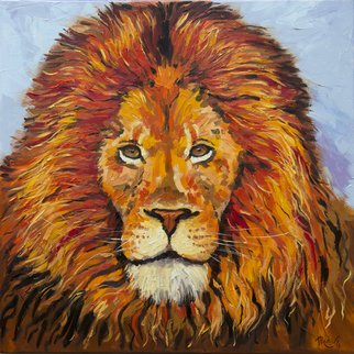 Irina Redine; Orange Lion, 2018, Original Painting Oil, 60 x 60 cm. Artwork description: 241 Oil Paint on canvas, stretched and ready to hangSigned on the frontOrange Lion aEUR