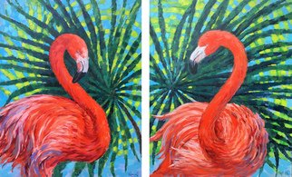 Irina Redine; Scarlet Flamingos, 2019, Original Painting Oil, 120 x 75 cm. Artwork description: 241 This is the original handmade diptych oil painting  Flamingos  by Irina Redine.This original diptych artwork signed by the artist on the front each and comes with a Certificate of Authenticity.The paintings can be hung separately or together.Size   each canvas  unframed :75  w  x 60  ...