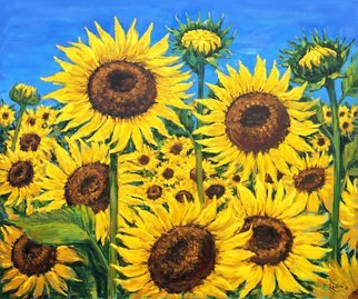 Irina Redine; Sunflowers, 2018, Original Painting Oil, 91.5 x 76.5 cm. Artwork description: 241 Oil Paint on canvas, stretched and ready to hangSigned on the frontSunflowers field aEUR
