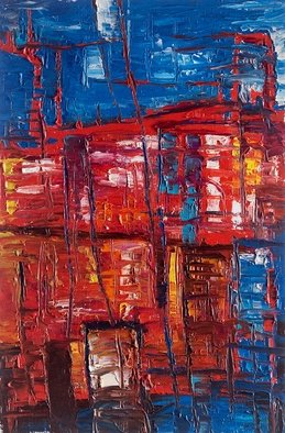 Evgeny Yakovlev; Malta Rain, 2017, Original Painting Oil, 30 x 45 cm. Artwork description: 241 Malta. Rain. red, blue...