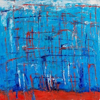 Evgeny Yakovlev; Munchhausen S Attempts, 2017, Original Painting Oil, 50 x 50 cm. Artwork description: 241 Munchhausen s attempts, blue, white, red...