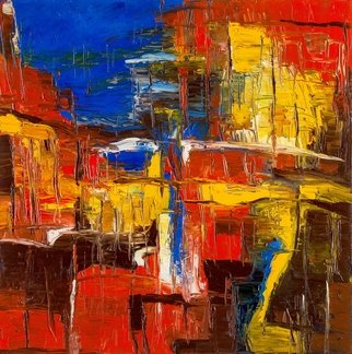Evgeny Yakovlev; Old Town, 2017, Original Painting Oil, 50 x 50 cm. Artwork description: 241 red, yello, town, blue...