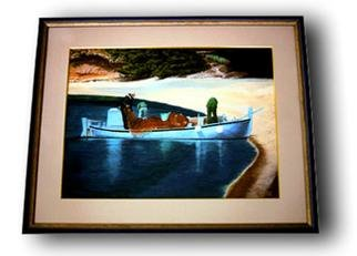 Branko Reic; Fishermans, 2001, Original Painting Tempera, 41 x 31 cm. Artwork description: 241 Fishermans in one of many picturesque cove scattered along the beautiful Dalmatian coast of the Adriatic sea. ...