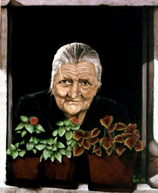 Branko Reic; Mildness, 2002, Original Painting Tempera, 26 x 32 inches. Artwork description: 241 All by herself she has brought up her four sons and still maintained the mildness in her eyes. Lets look into our own eyes - what can we see in them...