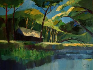 Janusaitis Remigijus; House On River, 2011, Original Painting Oil, 80 x 60 cm. Artwork description: 241    trees , house, river, landscape, oil painting      ...