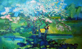 Janusaitis Remigijus; Spring, 2012, Original Painting Oil, 75 x 50 cm. Artwork description: 241   trees , bloom, spring landscape, oil painting     ...