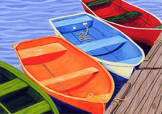 Renee Rutana; Ladies In Waiting, 2008, Original Painting Acrylic, 20 x 16 inches. Artwork description: 241 From my Cape Cod Rowboat Series.I found this quaint little marina in Falmouth at the Cape. ...