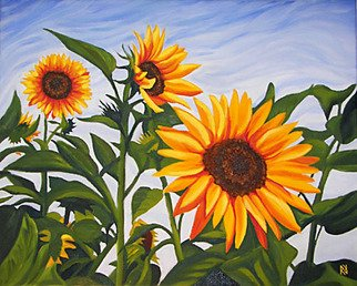 Renee Rutana; Natures Gold, 2008, Original Painting Oil, 20 x 16 inches. Artwork description: 241  Medium: Grumbacher Oil PaintsI came across these glorious Sunflowers while visiting Rockport, Massachusetts. The main colors are tones of Light Ultramarine Blue, Golden Yellows, Greens and Browns. It has been painted in an Realistic style with bright colors and will bring life to any room. Shown ...