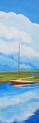 Renee Rutana; Reflecting On Summer, 2008, Original Painting Acrylic, 10 x 30 inches. Artwork description: 241 Medium: Liquitex Acrylic PaintsThis is another painting from my Cape Cod series. We were driving around and found this boat moored in Barnstable. The main colors are tones of Green, Cream, Rust, White and Blues. It has been painted in a Contemporary Realism style with lively, ...