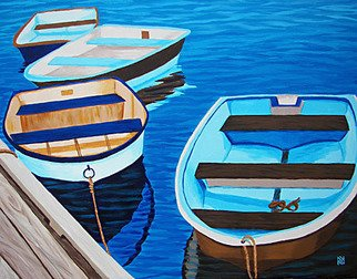 Renee Rutana; Rhythm And Blues, 2008, Original Painting Acrylic, 20 x 16 inches. Artwork description: 241  This auction is for an ORIGINAL Acrylic painting by award- winning artist, Renee Rutana. This is from the Cape Cod Rowboat Series.Found this quaint little marina in Falmouth at the Cape. The main colors are tones of Peacock Blue, Light Driftwood, Cream and Chocolate Browns. ...