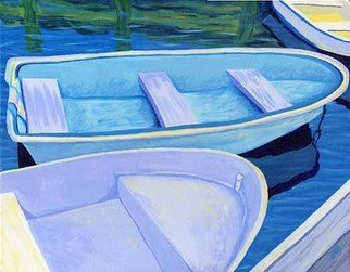 Renee Rutana; Singing The Blues, 2006, Original Painting Acrylic, 20 x 16 inches. Artwork description: 241  A bunch of dinghies at Cape Cod. Main colors are blues ( hence the title) . ...