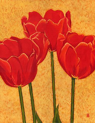 Renee Rutana; Tulips In Harmony, 2008, Original Painting Acrylic, 16 x 20 inches. Artwork description: 241  Medium: Liquitex Acrylic PaintsThese Tulips caught my eye at a Bulb & Flower show at Smith College. The main colors are tones of Golden Yellows, Greens and Tomato Red. It has been painted in an Impressionistic style with bright colors and will bring life to any room....