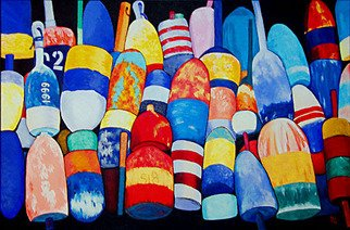 Renee Rutana; Unified, 2009, Original Painting Acrylic, 36 x 24 inches. Artwork description: 241 Lobster Buoys from Rockport, Massachusetts...