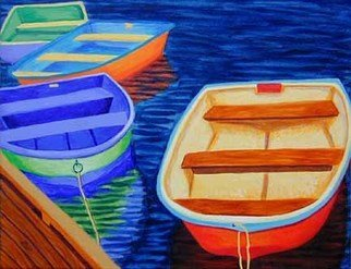 Renee Rutana; Vivid Concept, 2006, Original Painting Acrylic, 20 x 16 inches. Artwork description: 241  More dinghies, this time very bright, primary colors. * Gallery wrapped canvas with painting extending to the sides....