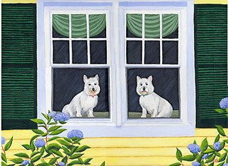 Renee Rutana; Waiting In The Window, 2007, Original Painting Acrylic, 24 x 18 inches. Artwork description: 241  This is a commission I recently completed of a couple Westies ( West Highland Terriers) waiting for their owners to come home. In the foreground are Hydrangeas. ...