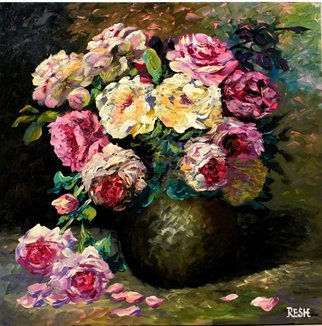 Yosef Reznikov;  Bunch Of Flowers , 2013, Original Painting Acrylic, 60 x 60 cm. Artwork description: 241  Still life, flowers, roses, original, painting, bouquet of roses bouquet ...
