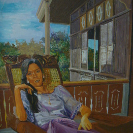 Reynaldo Gatmaitan, , , Original Painting Oil, size_width{The_Woman_In_The_Balcony-1288086985.jpg} X 28 inches