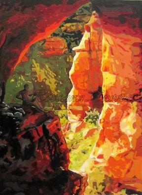 Rossana Currie; AZ Cave, 2011, Original Painting Oil, 30 x 40 inches. Artwork description: 241   Red limestone is one of the best raw material for nature express its beauty  ...