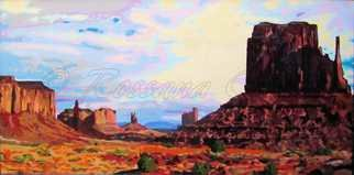 Rossana Currie; Left Mitten At MV, 2011, Original Painting Oil, 48 x 24 inches. Artwork description: 241   Visiting Monument Valley made me feel such a deep admiration and empathy with nature.Note: This painting is black metal framed....