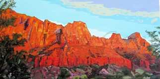 Rossana Currie; Springville View, 2011, Original Painting Oil, 48 x 24 inches. Artwork description: 241  Red limestone is one of the best raw material for nature express its beauty ...