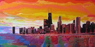 Rossana Currie; Windy City Sunset, 2013, Original Painting Oil, 48 x 24 inches.
