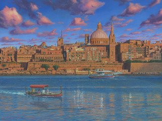 Richard Harpum; Evening In Valletta Harbo..., 2014, Original Printmaking Giclee, 24 x 18 inches. Artwork description: 241  This painting of Valletta, Malta is the view from Fort Tigne in Sliema and was commissioned by an existing client. Malta is one of my favourite Mediterranean islands and my wife and I visited there in 2011. The Valletta skyline is dominated by the silver dome of ...
