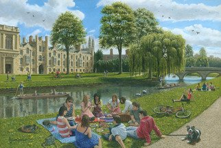 Richard Harpum; Fun On The River Cam, Cam..., 2014, Original Painting Acrylic, 30 x 20 inches. Artwork description: 241  This painting of Trinity College, Cambridge, England, was commissioned by Gibsons Games for a large 1000- piece jigsaw, which they will be publishing in 2014. It shows the River Cam running behind Trinity College, with a variety of people enjoying the nice weather. My favourite dog, Oscar, ...