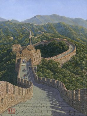 Richard Harpum; Great Wall Of China, Muti..., 2013, Original Painting Acrylic, 12 x 16 inches. Artwork description: 241  I have visited China many times, mostly on business, and have been fortunate enough to visit the Great Wall three times. My first visit was in 1999 when two work colleagues and I found ourselves in Beijing at a weekend. We decided to visit the Mutianyu Section ...