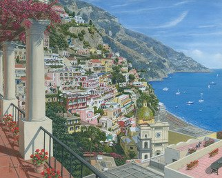 Richard Harpum; Positano Vista, Amalfi Co..., 2014, Original Painting Acrylic, 20 x 16 inches. Artwork description: 241  A few years ago I took my wife to Naples for her birthday and whilst there, we hired a car and toured all the local sights, including Positano on the beautiful Amalfi coast.  As usual, I took numerous photographs, stopping whenever possible on the treacherous coast road.  ...