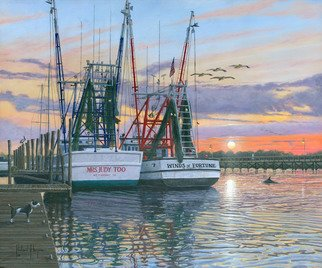 Richard Harpum; Shem Creek  Shrimpers, Ch..., 2013, Original Printmaking Giclee, 24 x 20 inches. Artwork description: 241  ORIGINAL SOLD; AVAILABLE AS GICLEE PRINTS ON CANVAS OR PAPER OR PRINT ON DEMAND.In 2012 my wife and I took a vacation in the USA and spent two wonderful weeks visiting several old friends that we had made when we lived in South Carolina in the ...